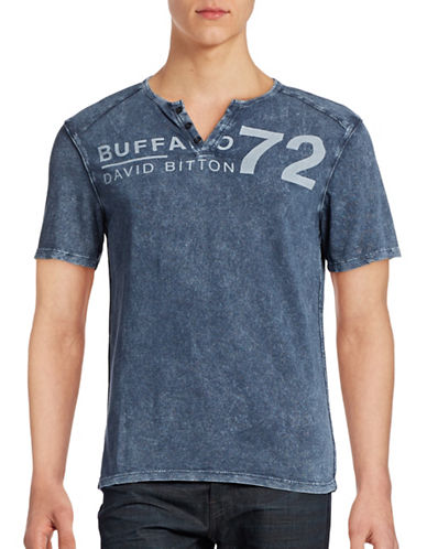 Buffalo David Bitton Henley Logo T-Shirt-WHALE-Small