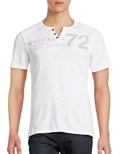 Buffalo David Bitton Henley Logo T-Shirt-WHITE-Small