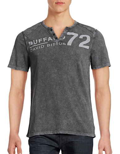 Buffalo David Bitton Henley Logo T-Shirt-BLACK-X-Large