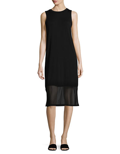 Buffalo David Bitton Midi Tank Dress with Mesh Hem-BLACK-X-Large