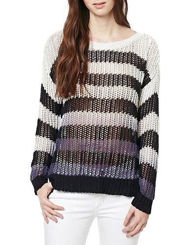 Buffalo David Bitton Striped Open-Knit Sweater-BLUE-Small