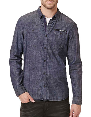 Buffalo David Bitton Simpur Denim Chambray Shirt-BLUE-Large