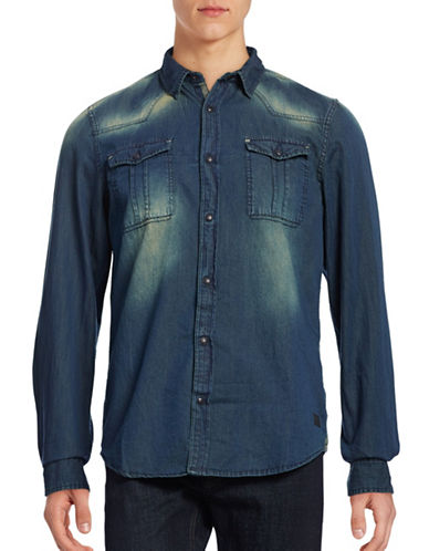 Buffalo David Bitton Woven Faded Denim Shirt-INDIGO-Large