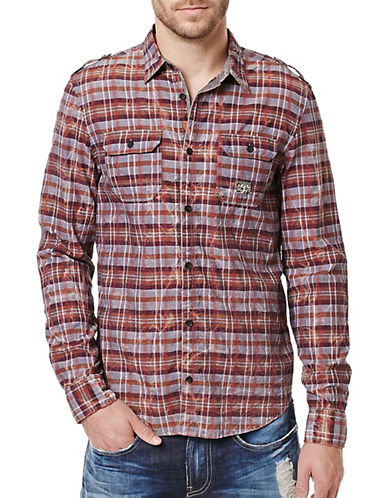Buffalo David Bitton Sitroll Chambray Marbled Yarn Plaid Shirt-ORANGE-Medium