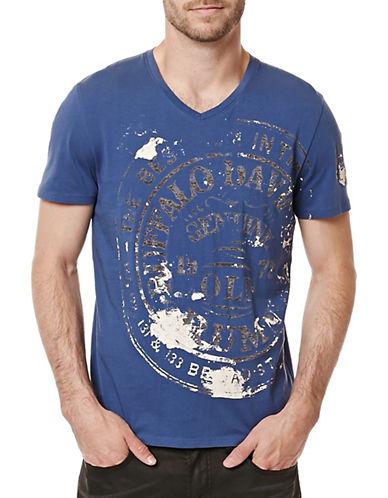 Buffalo David Bitton Printed V-Neck T-Shirt-BLUE-X-Large 88761808_BLUE_X-Large