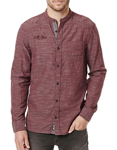 Buffalo David Bitton Woven Cotton Shirt-MAROON-Small