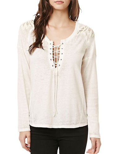 Buffalo David Bitton Hen Pecked Knit Top-NATURAL-Small