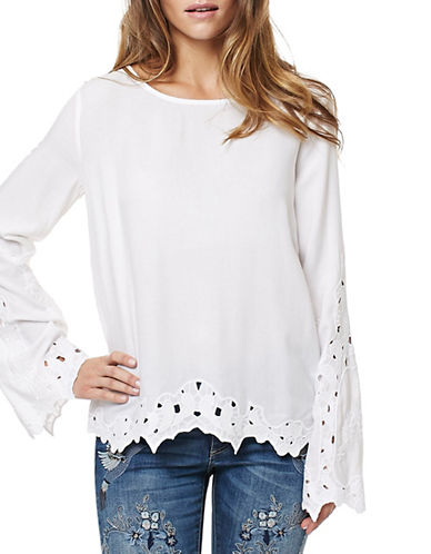 Buffalo David Bitton Sherill Embroidered Woven Top-WHITE-X-Large 89116170_WHITE_X-Large