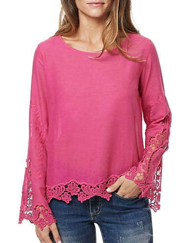 Buffalo David Bitton Sherill Embroidered Woven Top-PINK-Small 88987573_PINK_Small