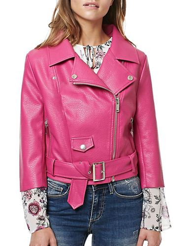 Buffalo David Bitton Zandra Faux Leather Moto Jacket-RED-X-Small 88987512_RED_X-Small