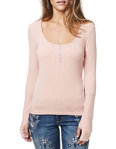 Buffalo David Bitton Haley-Henley Rib Kit Top-PINK-Small 88922621_PINK_Small
