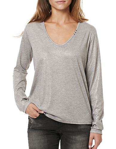 Buffalo David Bitton Solid Long Sleeve Knit Top-GREY-Large 88922599_GREY_Large