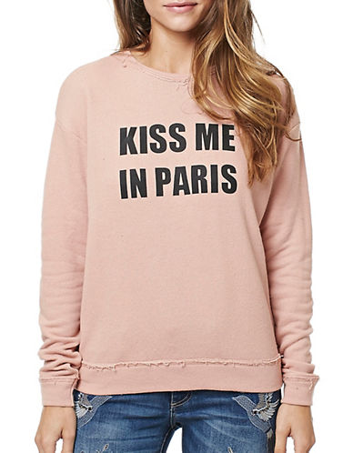 Buffalo David Bitton Kiss-Me-Paris French Terry Top-PINK-X-Small 88922635_PINK_X-Small