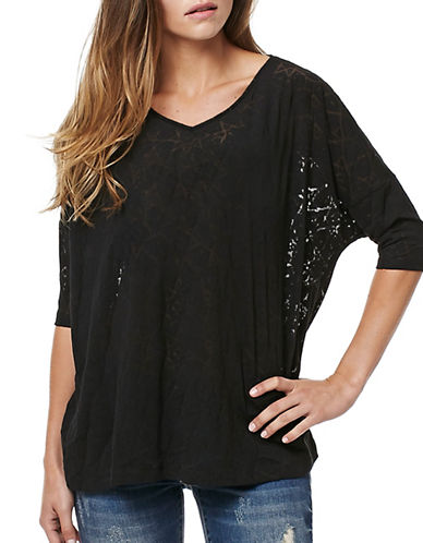 Buffalo David Bitton Starstruck Short Sleeve Burnout Knit Top-BLACK-X-Small 88922601_BLACK_X-Small