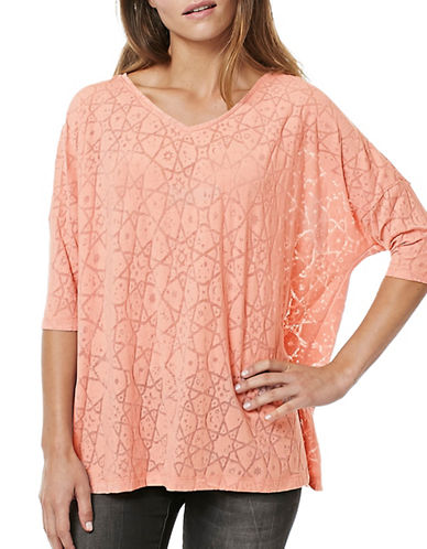 Buffalo David Bitton Starstruck Short Sleeve Burnout Knit Top-PINK-Medium 88922607_PINK_Medium
