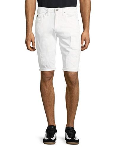 Buffalo David Bitton Parker-X Distressed Denim Shorts-WHITE-32