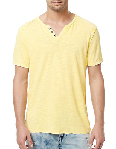 Buffalo David Bitton Short Sleeve Henley-YELLOW-X-Large