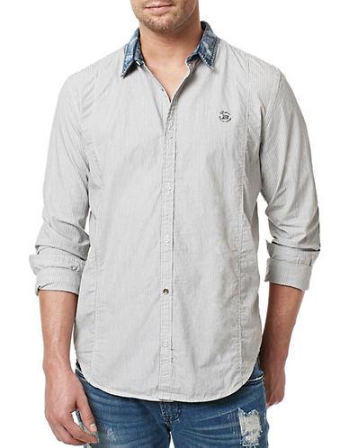 Buffalo David Bitton Woven Striped Poplin Sport Shirt-BLACK-Medium
