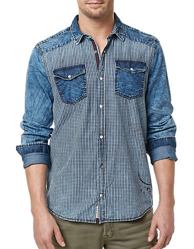 Buffalo David Bitton Checked Denim Shirt-BLUE-Large