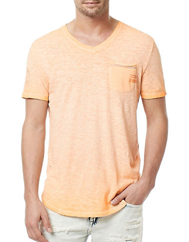 Buffalo David Bitton Faded Pocket V-Neck T-Shirt-ORANGE-Medium