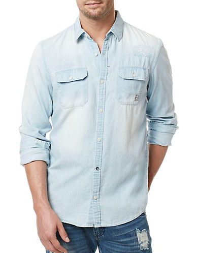 Buffalo David Bitton Duma Denim Button Shirt-BLUE-Small