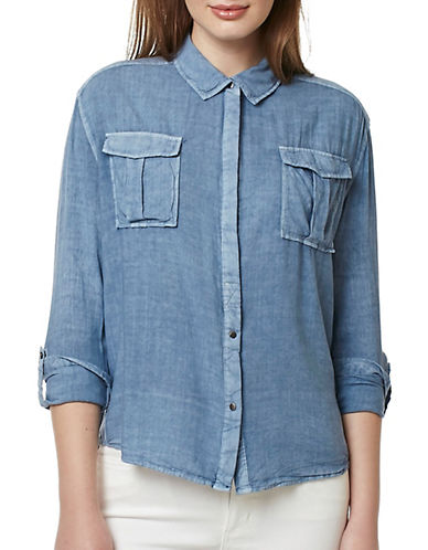 Buffalo David Bitton Tritie Woven Button-Up Top-BLUE-X-Small