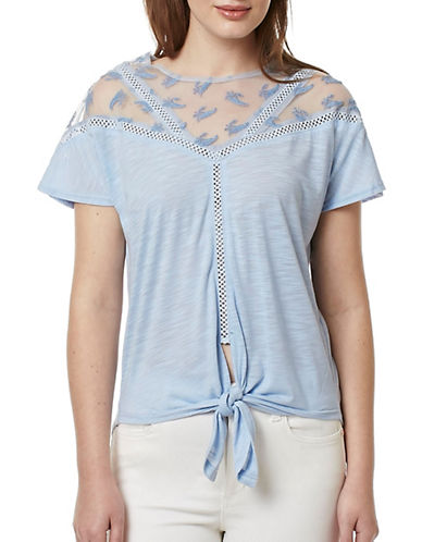 Buffalo David Bitton Tie-Hem Jersey Top-BLUE-X-Small