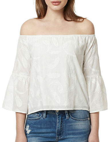 Buffalo David Bitton Feather Faye Off-Shoulder Woven Top-NATURAL-Large