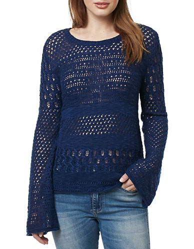Buffalo David Bitton Slub Crochet Long-Sleeved Top-BLUE-Medium 89038365_BLUE_Medium