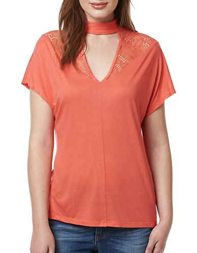 Buffalo David Bitton Lacer Back Short Sleeve Knit Top-CORAL-Large