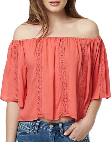 Buffalo David Bitton Edie Herringbone Woven Top-CORAL-X-Small