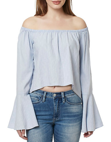 Buffalo David Bitton Tarley Off-Shoulder Woven Top-BLUE-Medium 89220476_BLUE_Medium