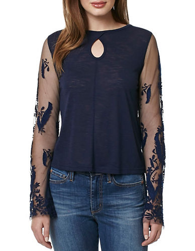 Buffalo David Bitton Keyhole Slub Top-BLUE-X-Small 89038313_BLUE_X-Small