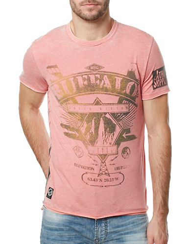 Buffalo David Bitton Burnout Washed Logo Tee-RED-Large 89137903_RED_Large