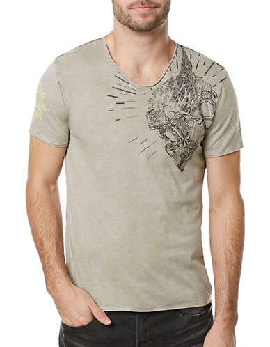 Buffalo David Bitton Ticar Graphic Cotton Tee-GREY-Large