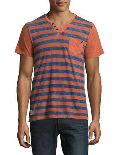 Buffalo David Bitton Buffalo David Striped Tee-BROWN-Medium