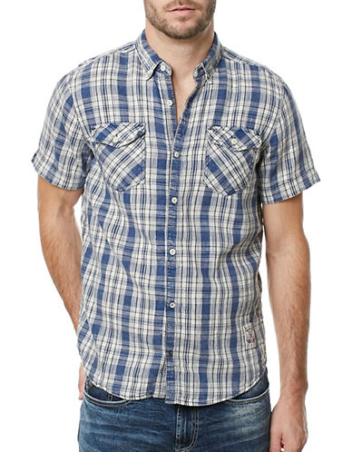 Buffalo David Bitton Sivander Twill Plaid Shirt-GREY-Small