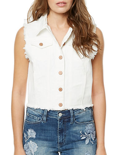 Buffalo David Bitton Frayed Trucker Vest-WHITE-Large