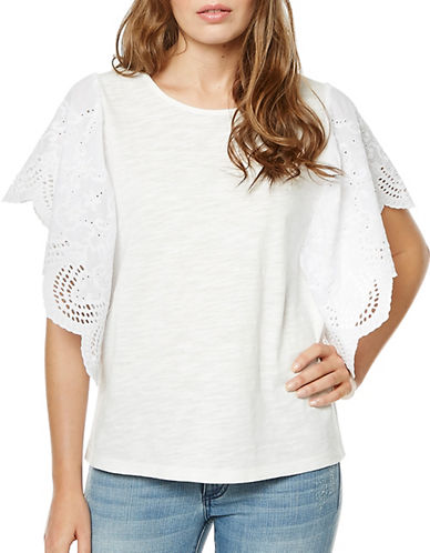 Buffalo David Bitton Alden Embroidered Sleeve Top-WHITE-Small