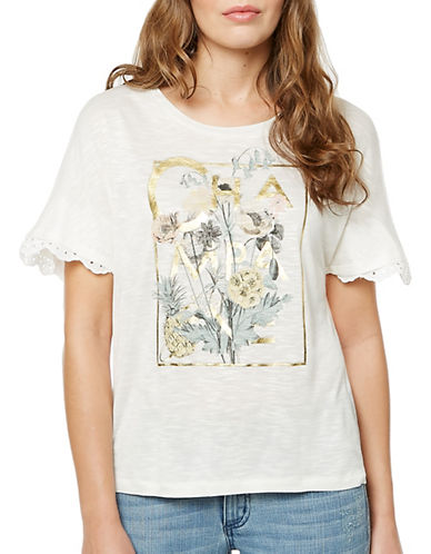 Buffalo David Bitton Champagne Short Sleeve Knit Top-WHITE-Large
