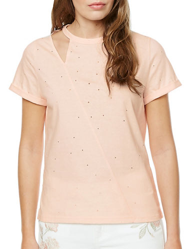 Buffalo David Bitton Inez Short Sleeve Cut-Out Tee-BALLERINA-Small