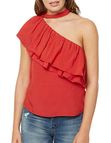 Buffalo David Bitton Drew Dotted One-Shoulder Top-RED-Medium
