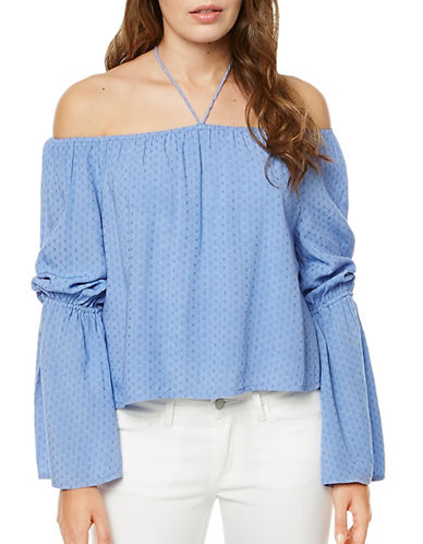 Buffalo David Bitton Sandra Off-Shoulder Halter Tie Top-BLUE-Small