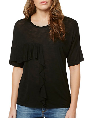 Buffalo David Bitton Koya Ruffle Tee-BLACK-Medium