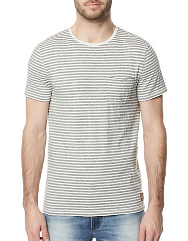 Buffalo David Bitton Karoot Striped Cotton Tee-WHITE-Small