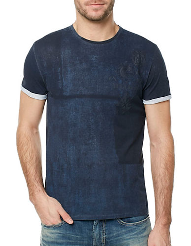 Buffalo David Bitton Taleve Colourblock T-Shirt-BLUE-Medium