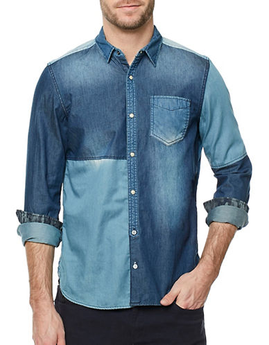 Buffalo David Bitton Sarkade Colourblock Denim Shirt-BLUE-Small