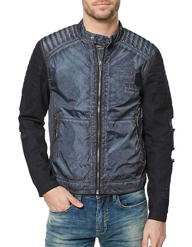 Buffalo David Bitton Distressed Moto Jacket-GREY-Large