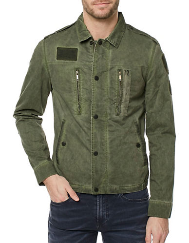 Buffalo David Bitton Patched Cotton Jacket-GREEN-Medium 89342894_GREEN_Medium