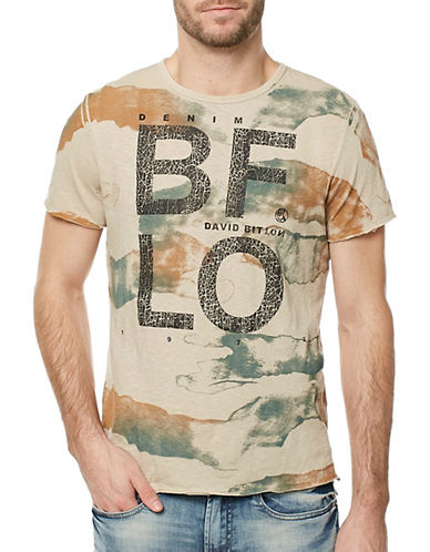 Buffalo David Bitton Camo Cotton Tee-BEIGE-Large
